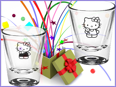 Hello Kitty adorable glasses, shot glasses and collectibles